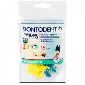 Dontodent Junior Unwaxed Floss Sticks 16 sticks